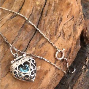 Blue zirconium December heart necklace
